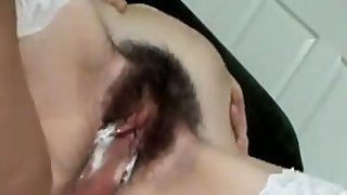 Pigtailed Girl Gets Hairy Pussy Spermed In