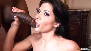 Seductive brunette Latina Rebeca Linares swallows a black guys saddle with