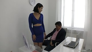 Yummy young enchase Lady Dee plays with hard dick be advantageous to her horny boss