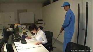 Japanese secretary Imanaga Sana stayed late in chum around with annoy office to fuck