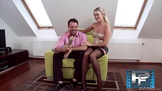 Classy MILF in high heels Nataly D'angelo rides and blows a big cock