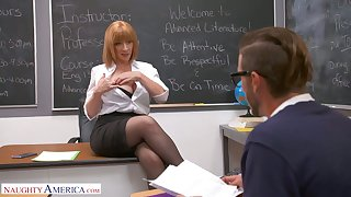 Lewd and rapacious MILFie tutor Sara Jay lures stud to be fucked well