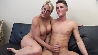 Mature light-haired female with glasses is fumbling her step- sonny's man meat after railing it a pile