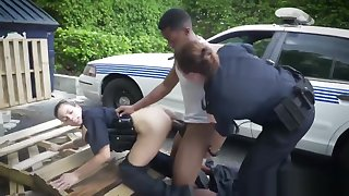 Horny female officers make suspect suck and fuck their pussies