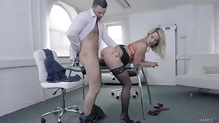 Naughty secretary slut bent over and fucked hard