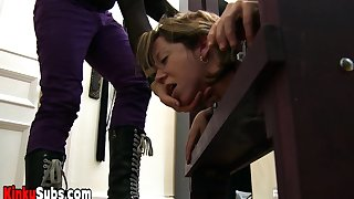 Goddes Starla tortured her locked slaves fresh pussy